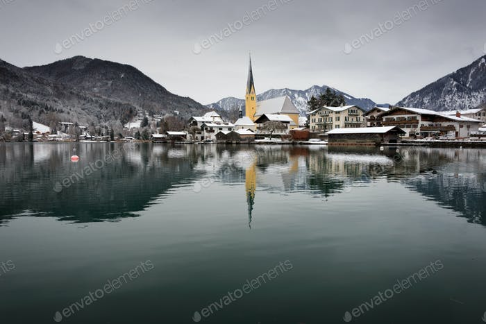 Church at the border of a lake in Bavaria