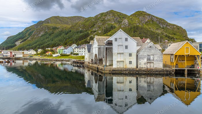 Old wooden Warehouses in the harbour of Runde