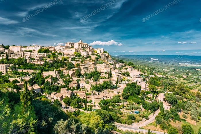 Gordes, Provence, France. Beautiful Scenic View Of Medieval Hill