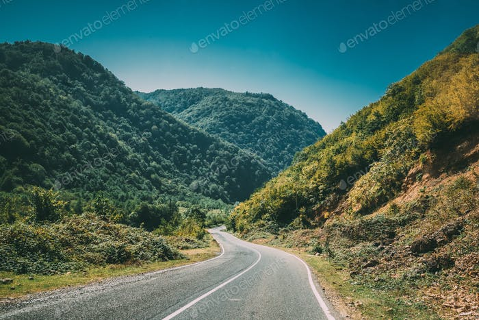 Mountain Open Road Landscape In Imereti Region, Khoni District,