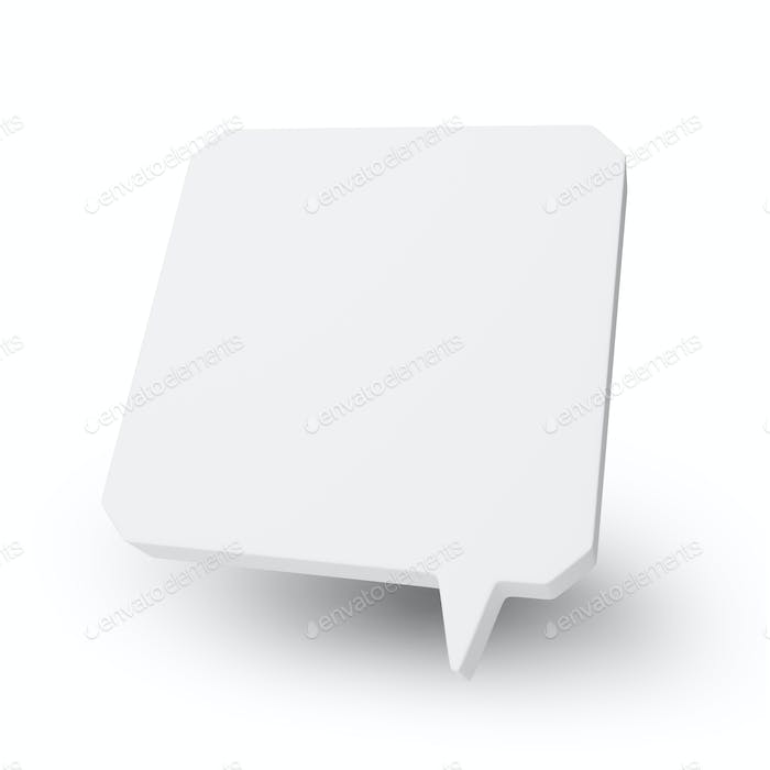 Blank square speech bubble or balloon isolated on white background.