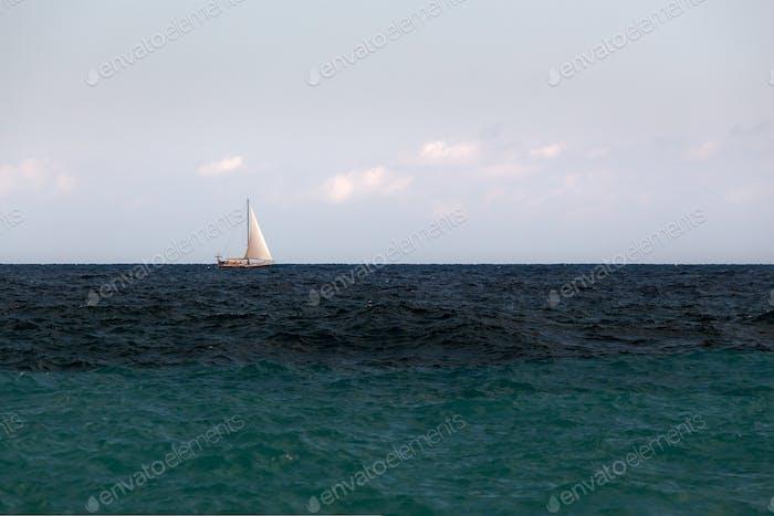 Sailing Boat In The Open Sea 2