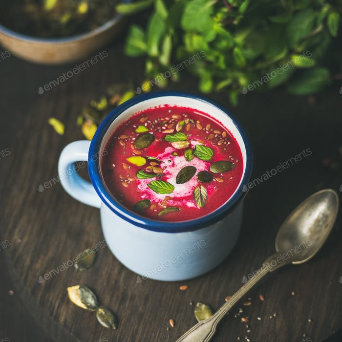 Spring beetroot soup with mint, pistachio, chia, flax, pumpkin seeds