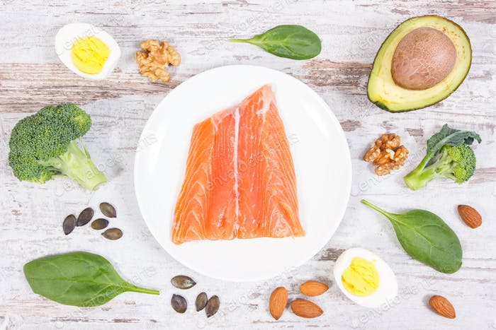 Natural sources of omega 3 acids, unsaturated fats and dietary fiber, healthy nutrition concept
