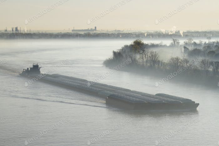 Mist Shrouded River and Tugboat