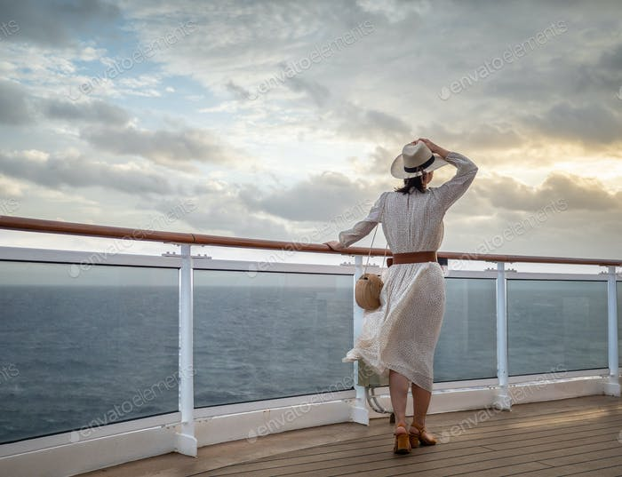 A young girl in a sea cruise