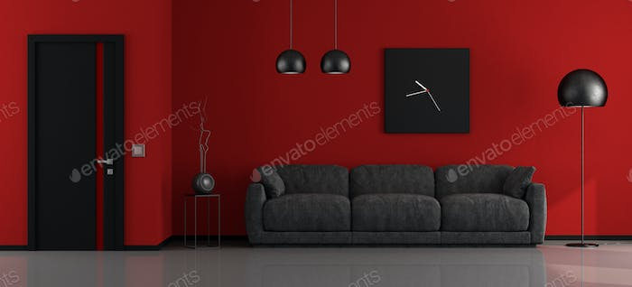 Black and red minimalist lounge