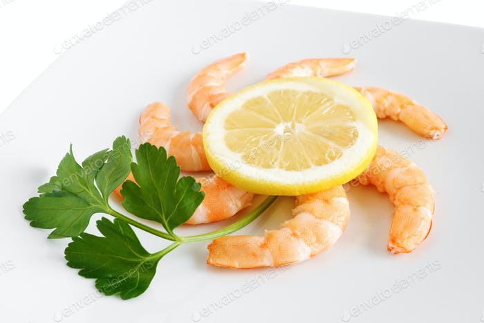lemon and shrimps closeup