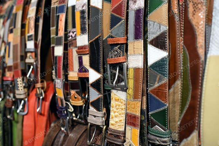 Assorted patterned handcrafted leather belts