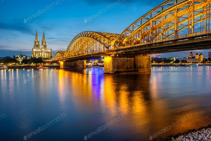 Thumbnail for Cologne Cathedral and Hohenzollern Bridge at night, Germany