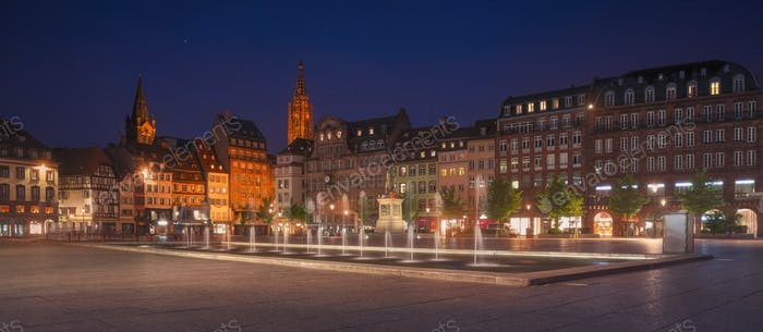 Strasbourg, evening in Place Kleber square. Cathedral on background. Alsace, France