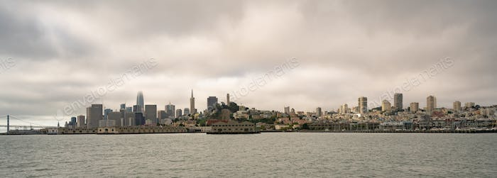 Long Panoramic View San Francisco Fishermans Wharf City Skyline