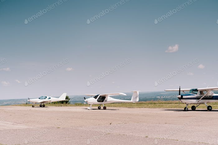 Private airplanes in the field