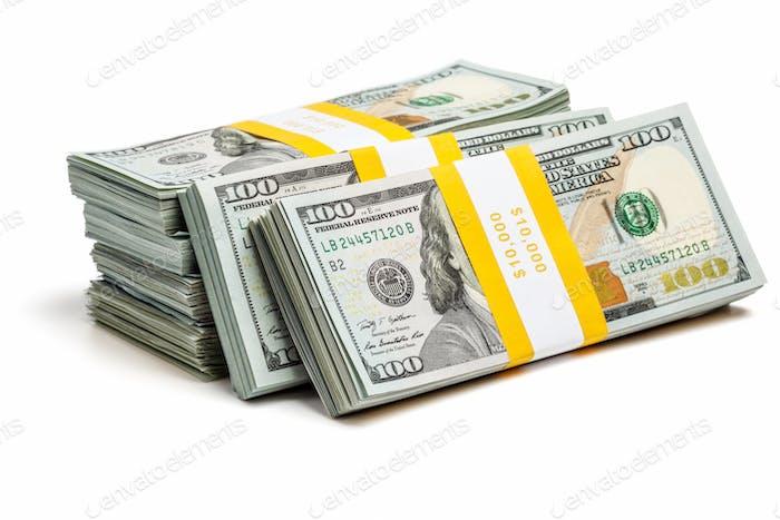 Bundles of 100 US dollars 2013 edition bills