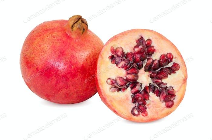 Fresh pomegranate fruits on white background