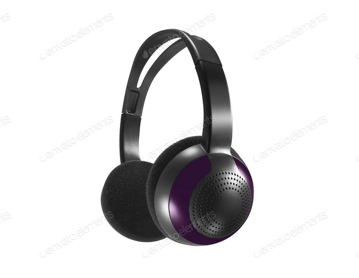 Computer headset on white background