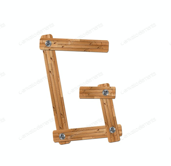 wooden alphabet - letter G on white background