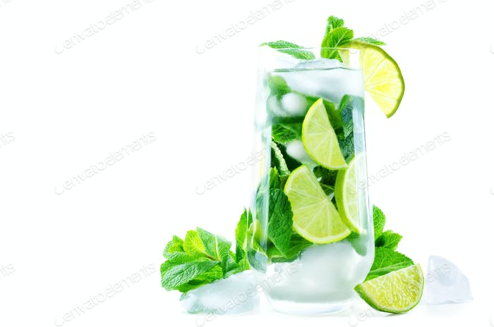 Mojito coctail  with fresh mint leaves and lime slice