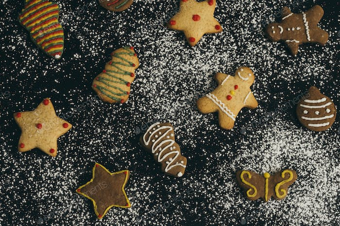 Homemade holiday cookies in Christmas shapes