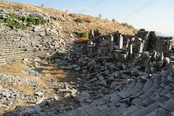 Ruins of old amphitheater in Hierapolis, Pamukkale, Turkey.