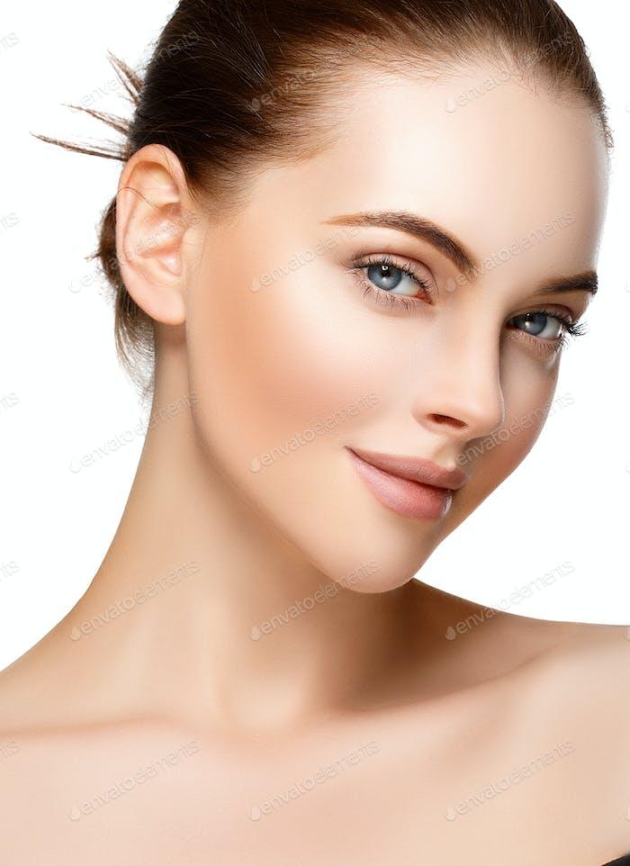 Frau Portrait Nahaufnahme Schönes Gesicht Gesunde Natürliche Haut