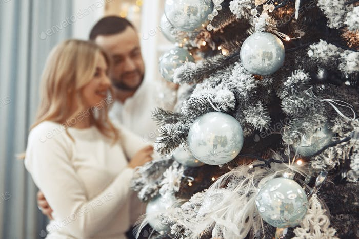 Elegant couple standing at home near christmas tree