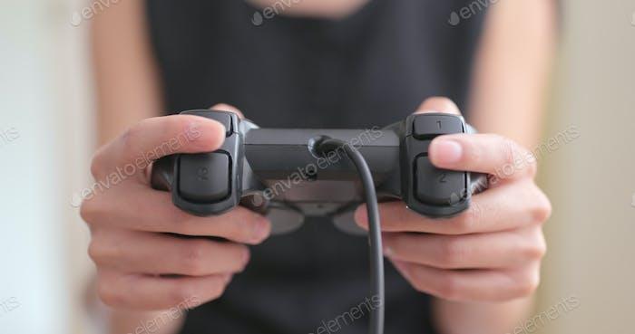 Woman enjoy play video game