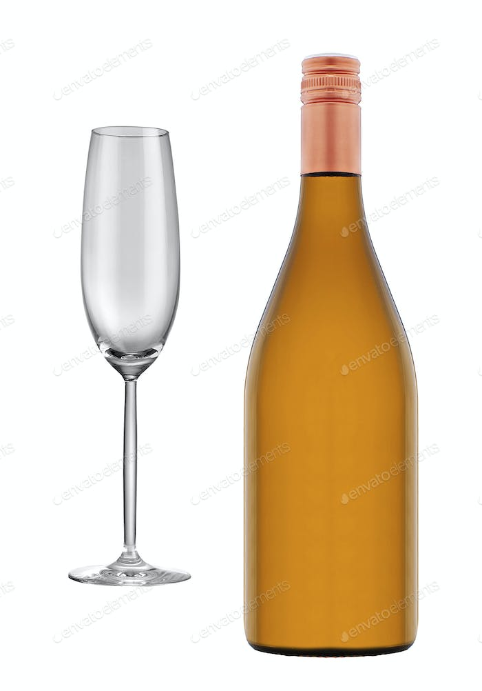 glass of champagne and bottle isolated
