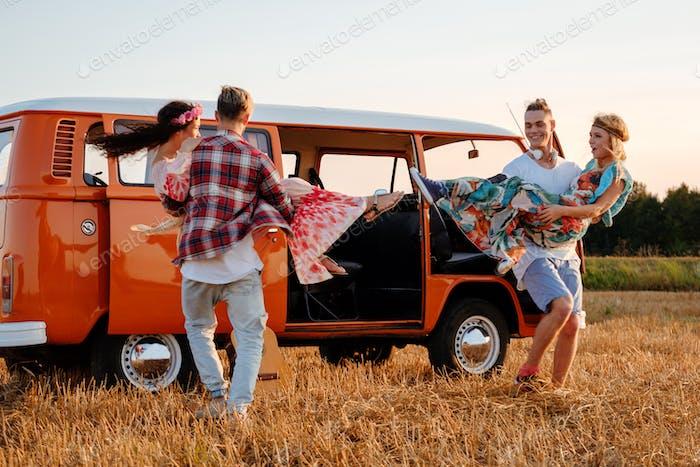Hippie friends on a road trip