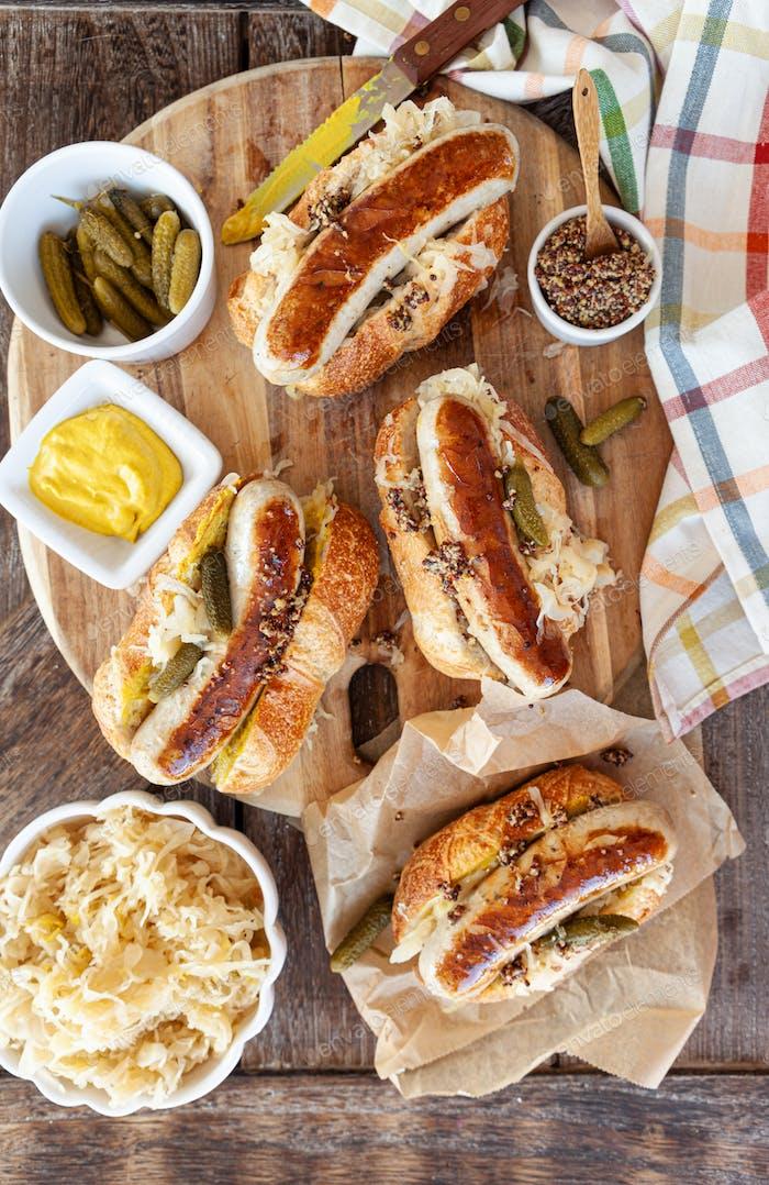 Köstliche Schweinefleisch Wurst Hot Dogs