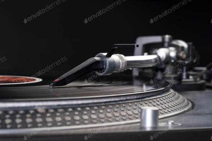 Dj's turntable closeup