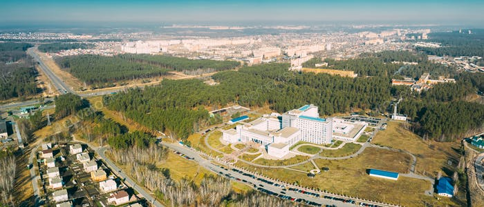 Gomel, Belarus. Aerial View OF Building Of Republican Scientific Center For Radiation Medicine And