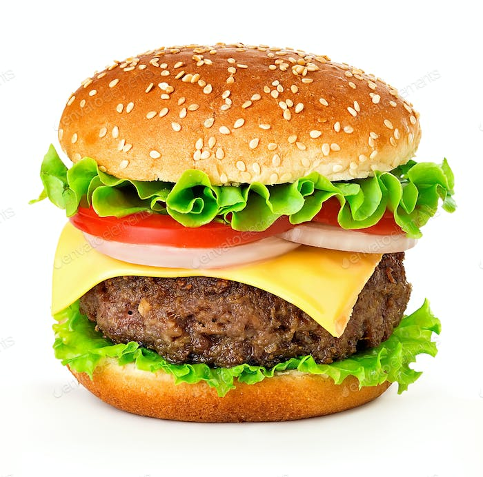 Big cheeseburger isolated on white background.