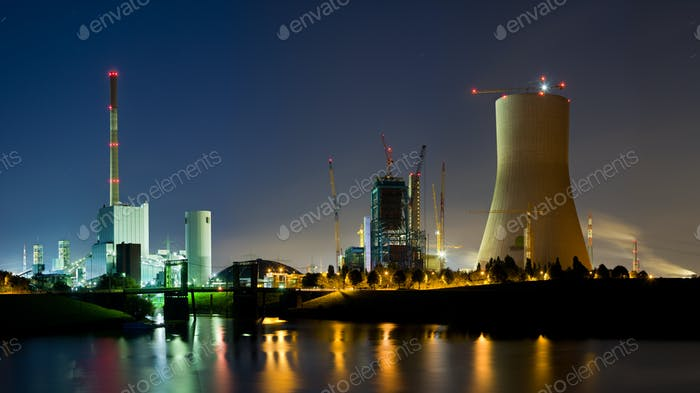 Power Stations Panorama At Night