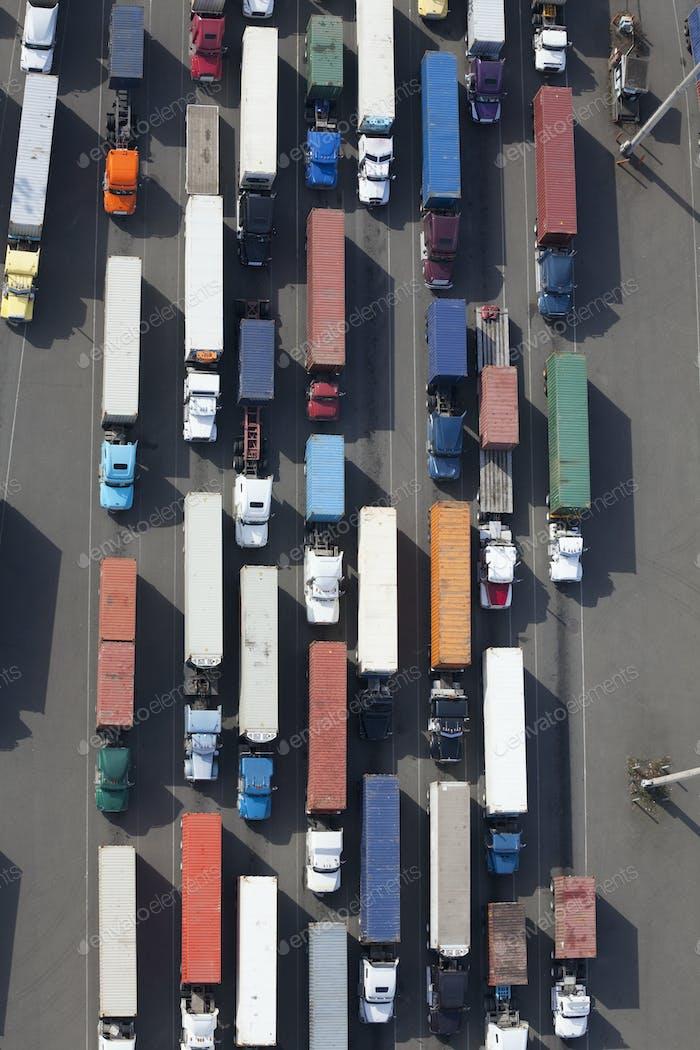 Aerial View of Semi Trucks at a Port