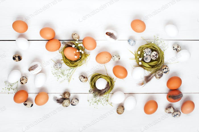 Festive White Easter Table with Decoration