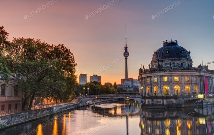 Beautiful sunrise at the Museum Island in Berlin