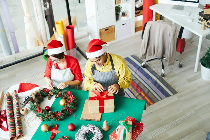 Santas at work