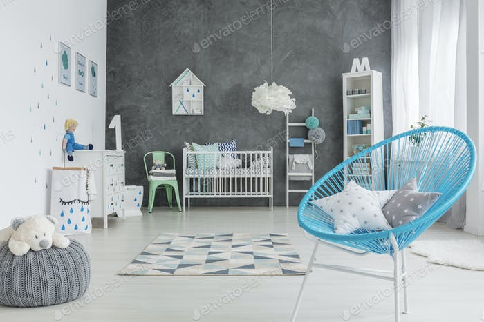Grey and white baby room