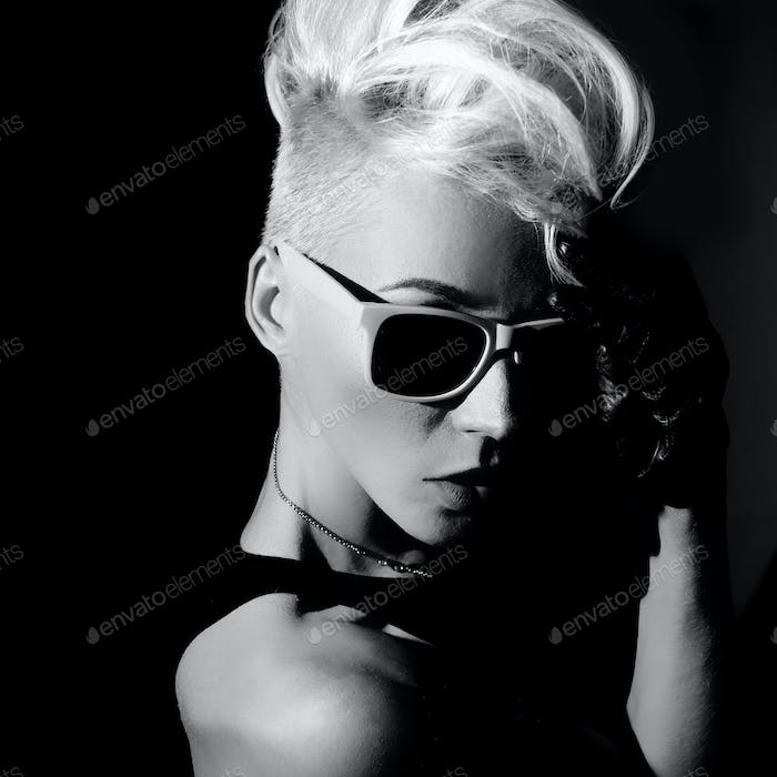 Glamorous blonde punk fashion style black and white photo