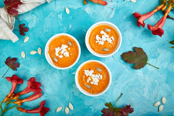 Cream of pumpkin soup or souffle. Thanksgiving Day