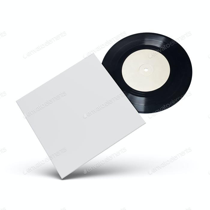 Vinyl single record in cardboard cover on white background.