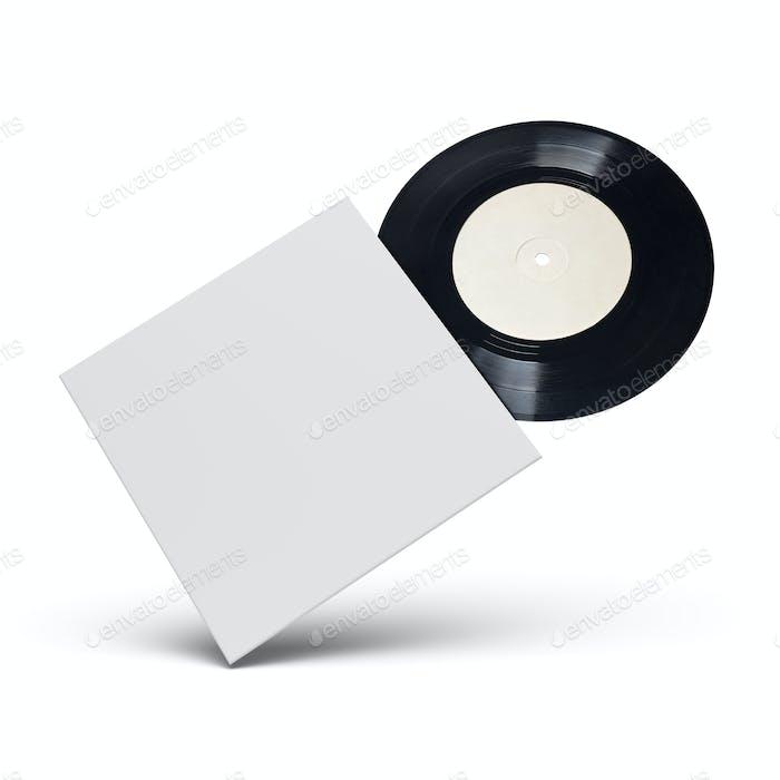 Vinyl-Schallplatte in Kartoneinband auf weißem Hintergrund.