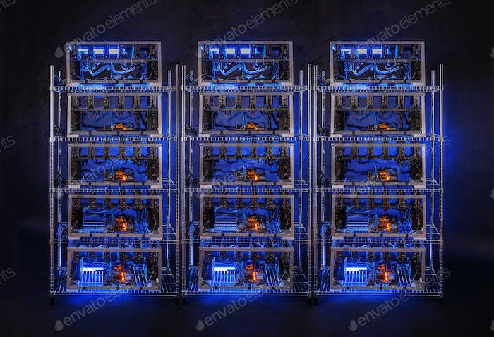 Row of bitcoin miners