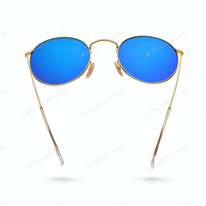 Gold frame round blue sunglasses isolated on white.