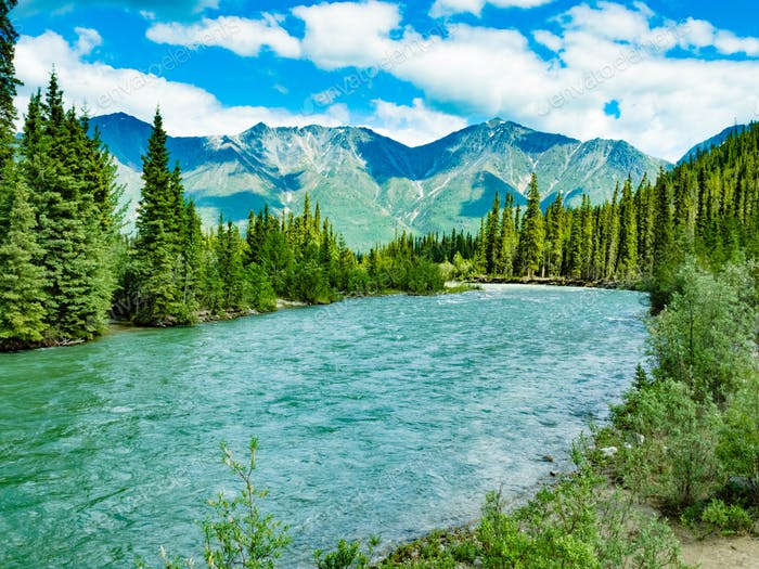 Wheaton River alpine valley Yukon Territory Canada
