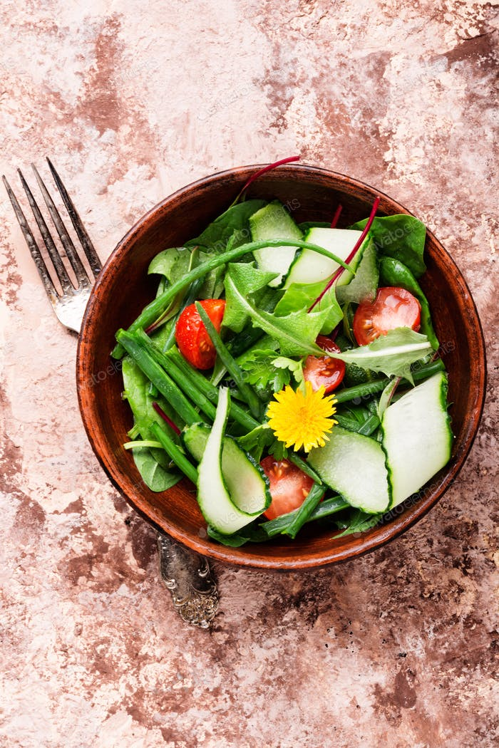 Spring salad with dandelions