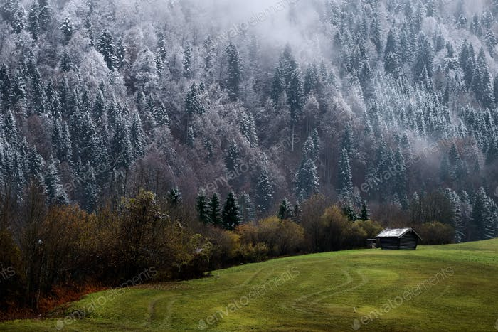 First snow in Bavarian Alps