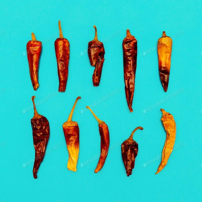Set of Chile Dried Peppers. Minimal art style