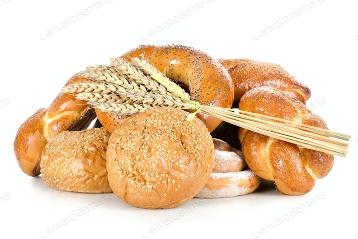 Collection of different breads isolated